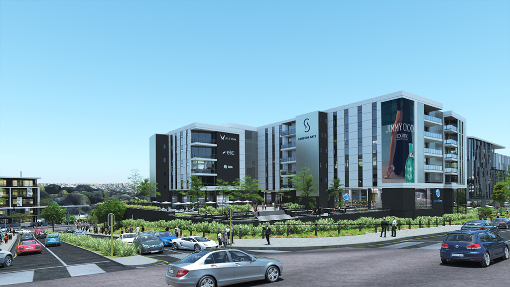 Sandton Gate commercial development phase 1 comprises of offices, a retail development and a gym, all with basement parking